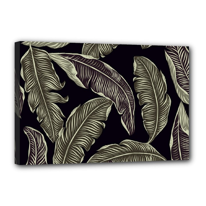 Jungle Leaves Tropical Pattern Canvas 18  x 12  (Stretched)