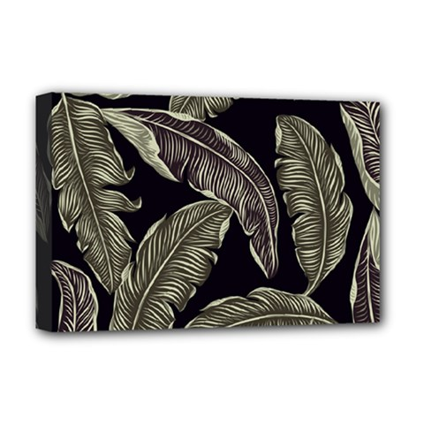 Jungle Leaves Tropical Pattern Deluxe Canvas 18  X 12  (stretched) by Nexatart