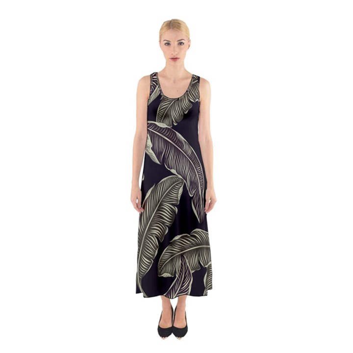 Jungle Leaves Tropical Pattern Sleeveless Maxi Dress