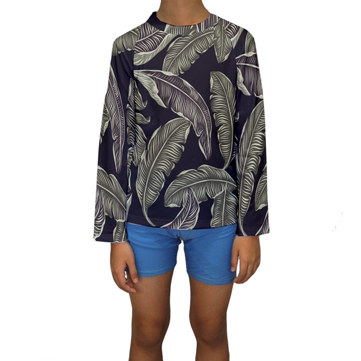 Jungle Leaves Tropical Pattern Kids  Long Sleeve Swimwear
