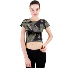 Jungle Leaves Tropical Pattern Crew Neck Crop Top