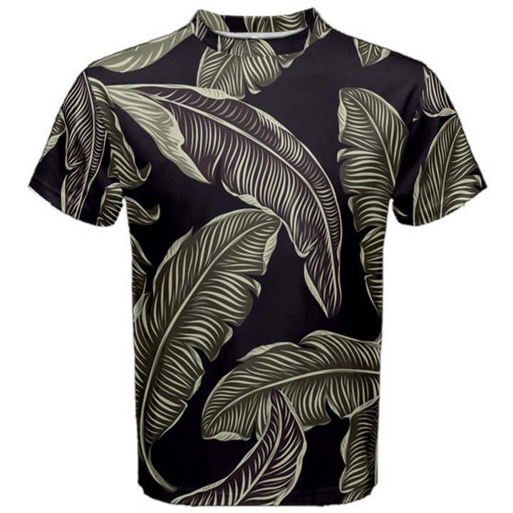 Jungle Leaves Tropical Pattern Men s Cotton Tee