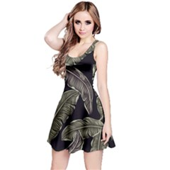 Jungle Leaves Tropical Pattern Reversible Sleeveless Dress