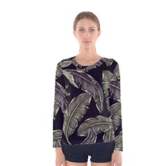 Jungle Leaves Tropical Pattern Women s Long Sleeve Tee by Nexatart