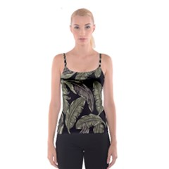 Jungle Leaves Tropical Pattern Spaghetti Strap Top
