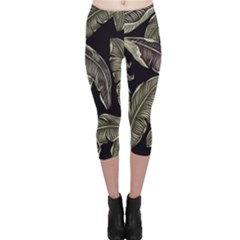Jungle Leaves Tropical Pattern Capri Leggings