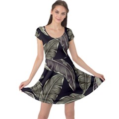 Jungle Leaves Tropical Pattern Cap Sleeve Dress