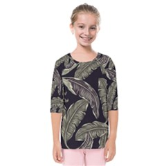 Jungle Leaves Tropical Pattern Kids  Quarter Sleeve Raglan Tee