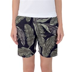 Jungle Leaves Tropical Pattern Women s Basketball Shorts