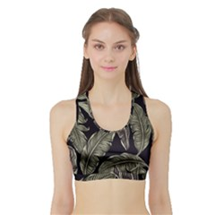 Jungle Leaves Tropical Pattern Sports Bra With Border