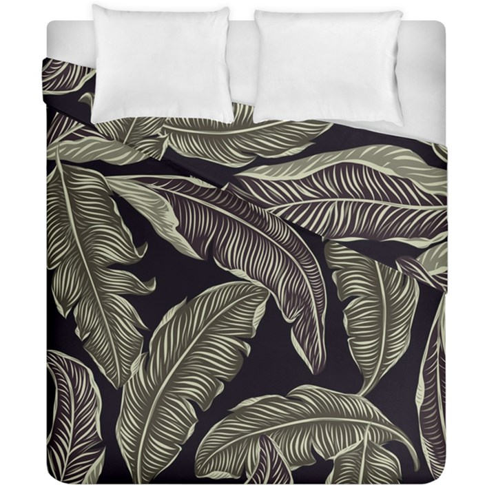 Jungle Leaves Tropical Pattern Duvet Cover Double Side (California King Size)