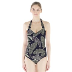 Jungle Leaves Tropical Pattern Halter Swimsuit