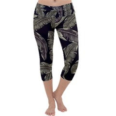 Jungle Leaves Tropical Pattern Capri Yoga Leggings by Nexatart