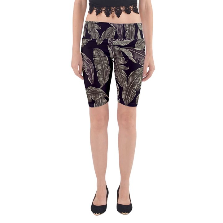 Jungle Leaves Tropical Pattern Yoga Cropped Leggings