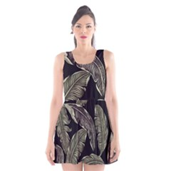 Jungle Leaves Tropical Pattern Scoop Neck Skater Dress