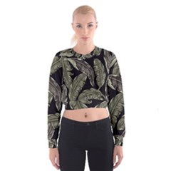 Jungle Leaves Tropical Pattern Cropped Sweatshirt