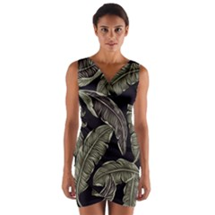Jungle Leaves Tropical Pattern Wrap Front Bodycon Dress by Nexatart