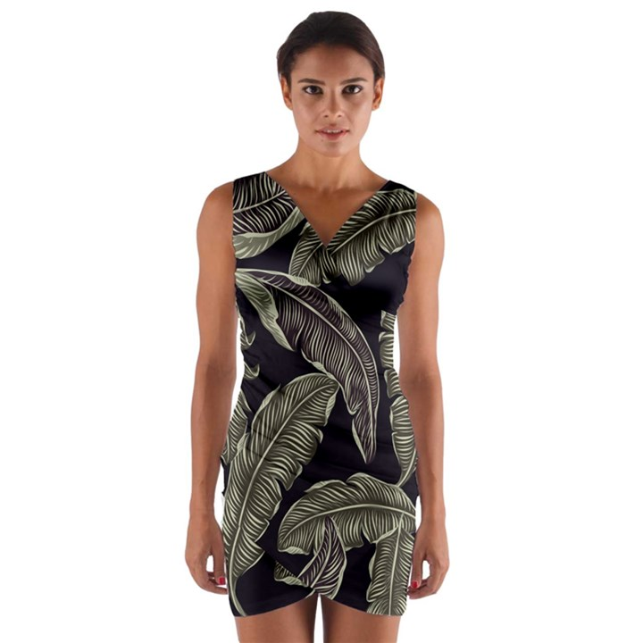 Jungle Leaves Tropical Pattern Wrap Front Bodycon Dress
