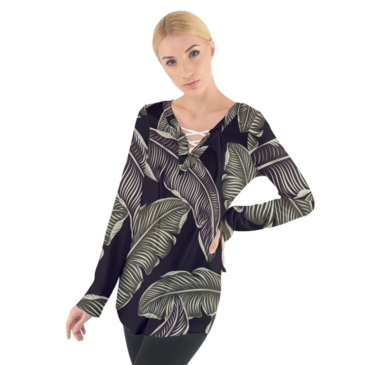 Jungle Leaves Tropical Pattern Tie Up Tee