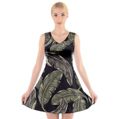 Jungle Leaves Tropical Pattern V Neck Sleeveless Dress