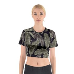 Jungle Leaves Tropical Pattern Cotton Crop Top