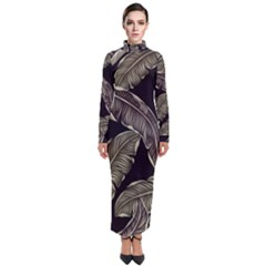 Jungle Leaves Tropical Pattern Turtleneck Maxi Dress