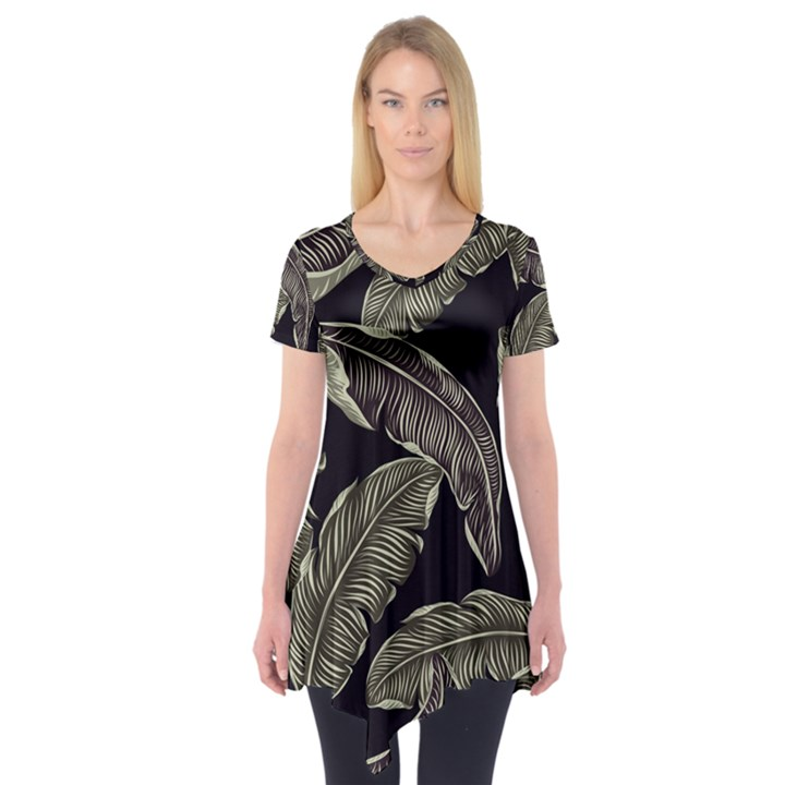 Jungle Leaves Tropical Pattern Short Sleeve Tunic