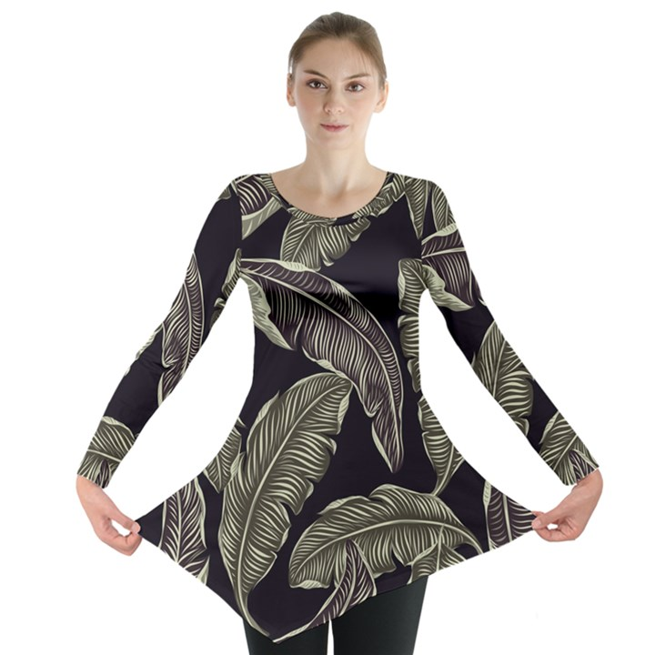 Jungle Leaves Tropical Pattern Long Sleeve Tunic
