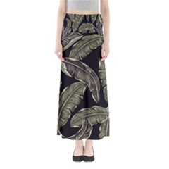Jungle Leaves Tropical Pattern Full Length Maxi Skirt