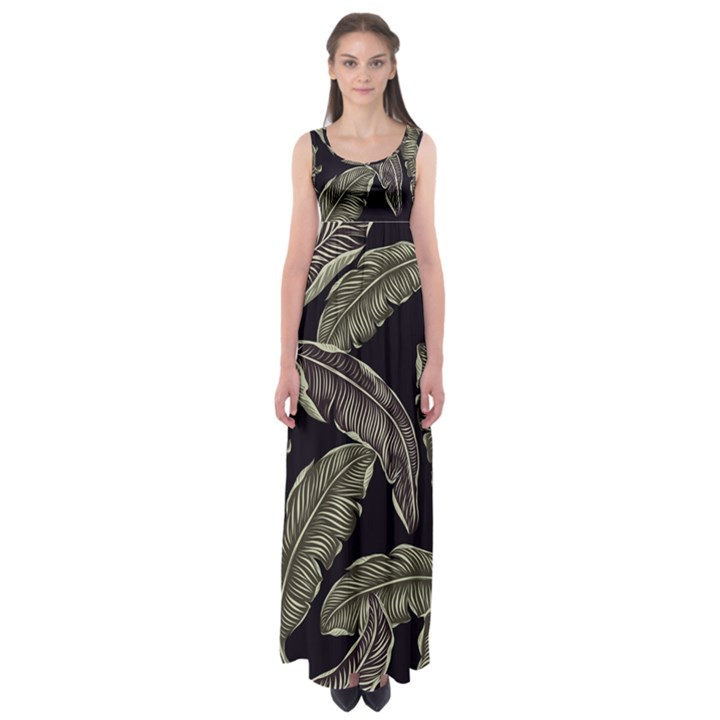 Jungle Leaves Tropical Pattern Empire Waist Maxi Dress