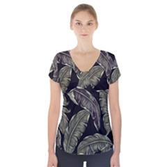 Jungle Leaves Tropical Pattern Short Sleeve Front Detail Top