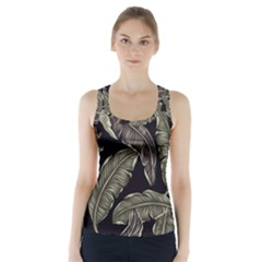 Jungle Leaves Tropical Pattern Racer Back Sports Top