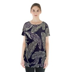 Jungle Leaves Tropical Pattern Skirt Hem Sports Top