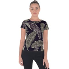 Jungle Leaves Tropical Pattern Short Sleeve Sports Top