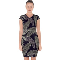 Jungle Leaves Tropical Pattern Capsleeve Drawstring Dress