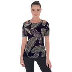 Jungle Leaves Tropical Pattern Shoulder Cut Out Short Sleeve Top by Nexatart
