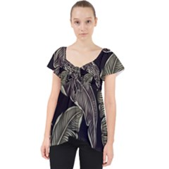 Jungle Leaves Tropical Pattern Lace Front Dolly Top by Nexatart