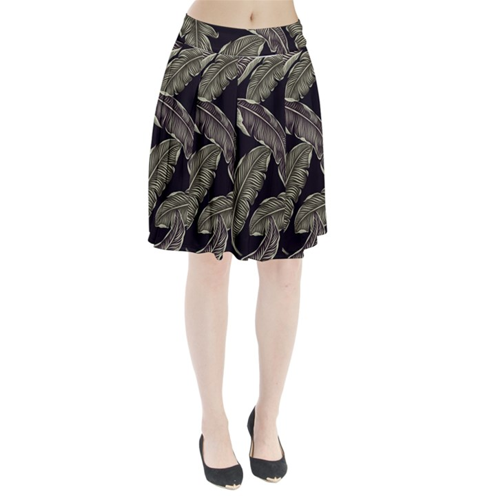 Jungle Leaves Tropical Pattern Pleated Skirt