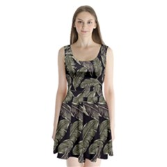 Jungle Leaves Tropical Pattern Split Back Mini Dress