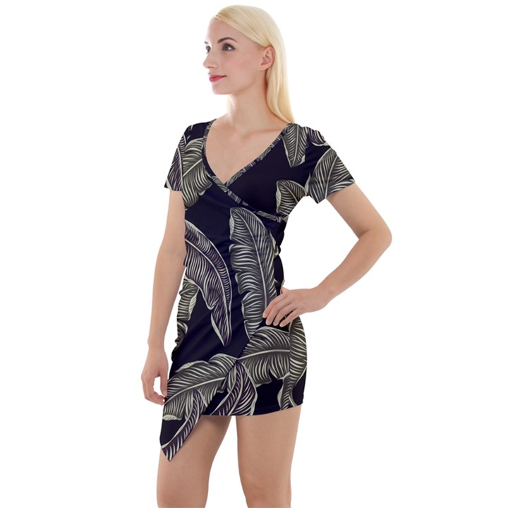 Jungle Leaves Tropical Pattern Short Sleeve Asymmetric Mini Dress