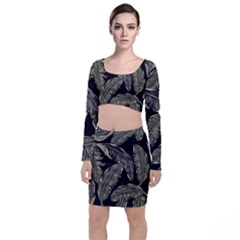Jungle Leaves Tropical Pattern Top And Skirt Sets