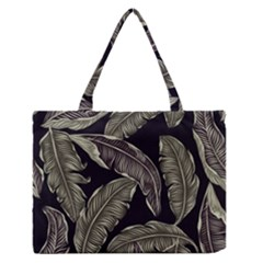 Jungle Leaves Tropical Pattern Zipper Medium Tote Bag by Nexatart