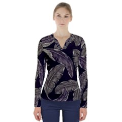 Jungle Leaves Tropical Pattern V Neck Long Sleeve Top by Nexatart