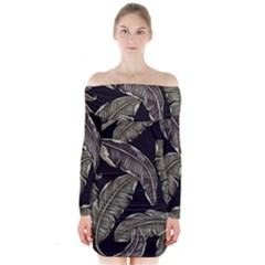 Jungle Leaves Tropical Pattern Long Sleeve Off Shoulder Dress