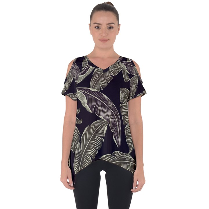 Jungle Leaves Tropical Pattern Cut Out Side Drop Tee