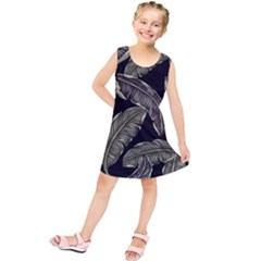 Jungle Leaves Tropical Pattern Kids  Tunic Dress