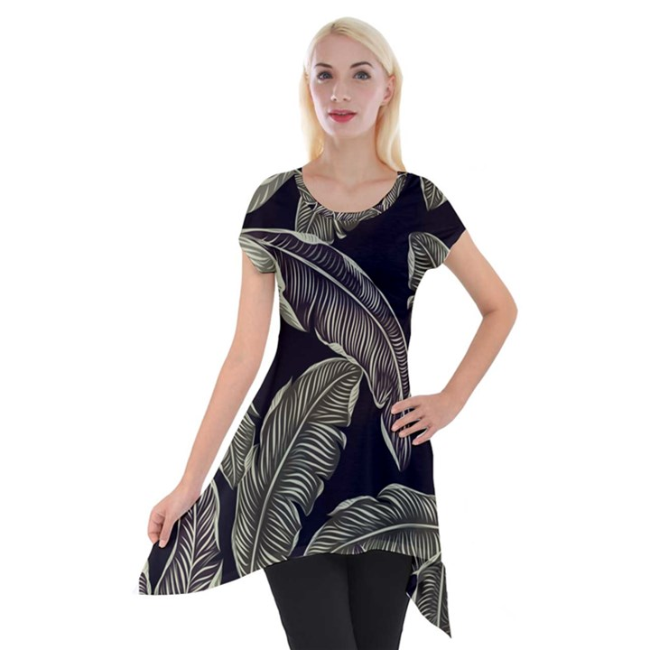 Jungle Leaves Tropical Pattern Short Sleeve Side Drop Tunic