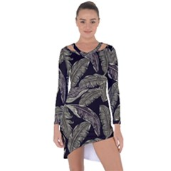 Jungle Leaves Tropical Pattern Asymmetric Cut Out Shift Dress