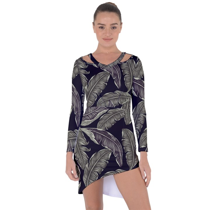 Jungle Leaves Tropical Pattern Asymmetric Cut-Out Shift Dress