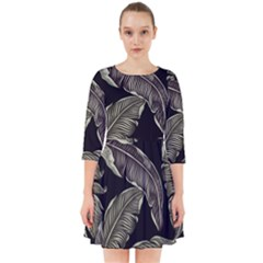 Jungle Leaves Tropical Pattern Smock Dress